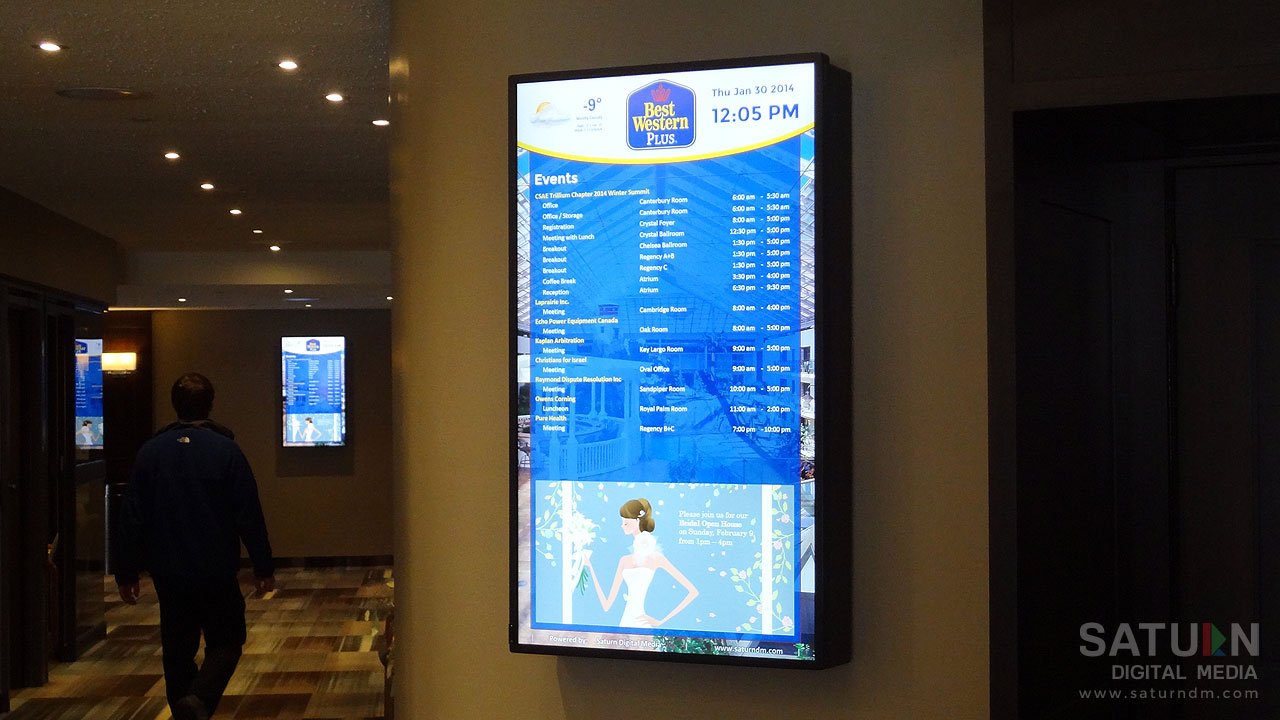 Digital Event Boards at the Best Western Lamplighter Inn & Conference Centre in London, Ontario by Saturn Digital Media