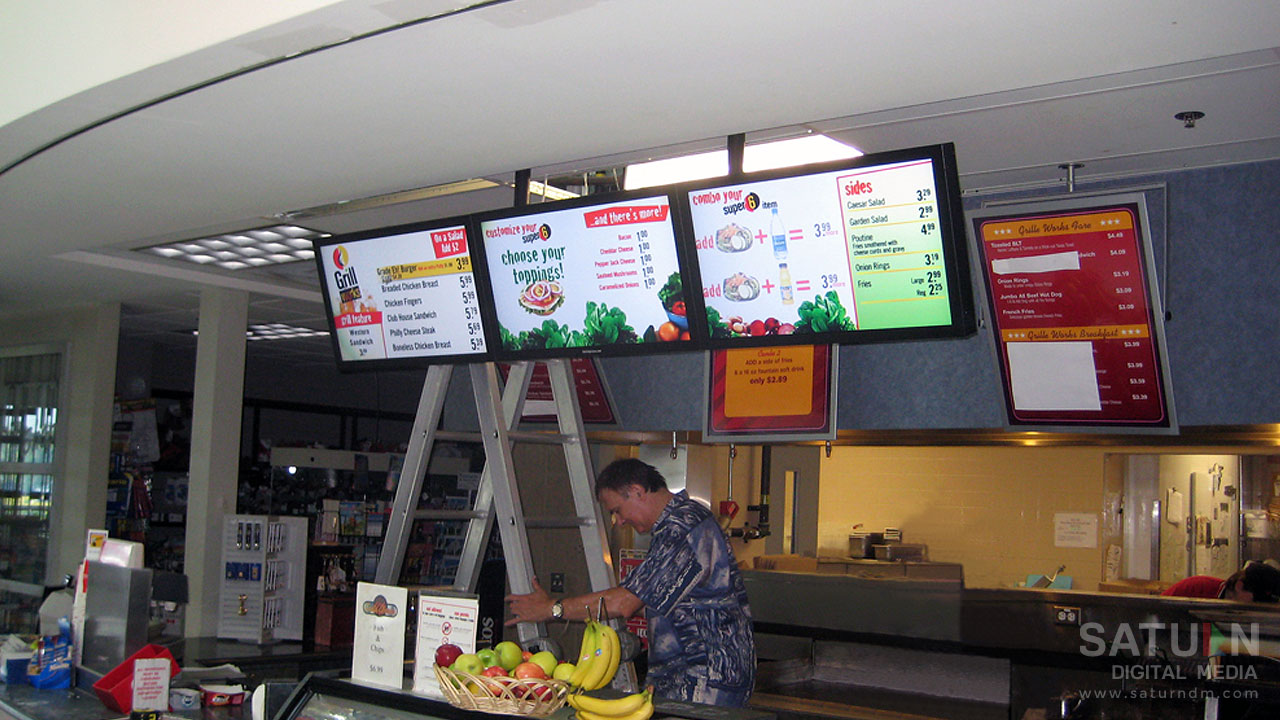 Digital Menu Screens installed by Saturn Digital Media at two Grille Works locations in London, Ontario.