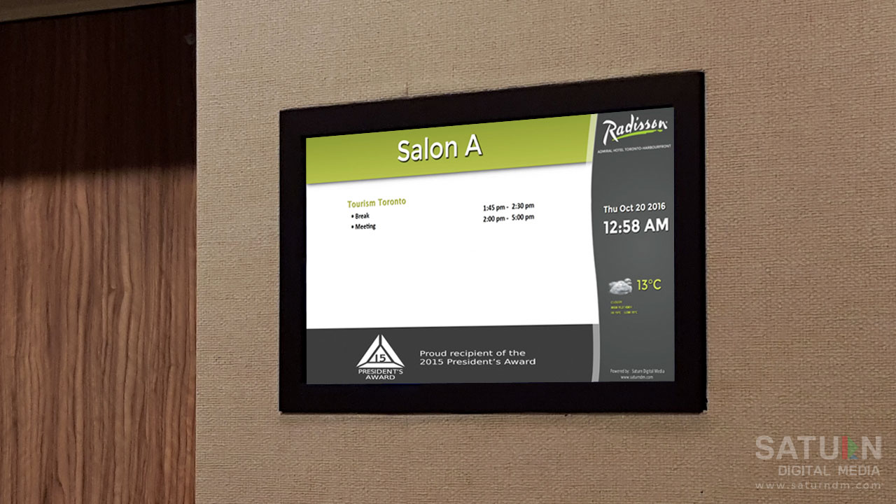 Floor Event Readerboards at Radisson Admiral Harbourfront Toronto by Saturn Digital Media