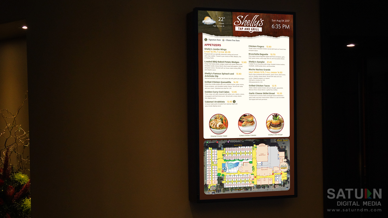 Shelleys Restaurant Menu designed and installed by Saturn Digital Media at Lamplighter Inn.