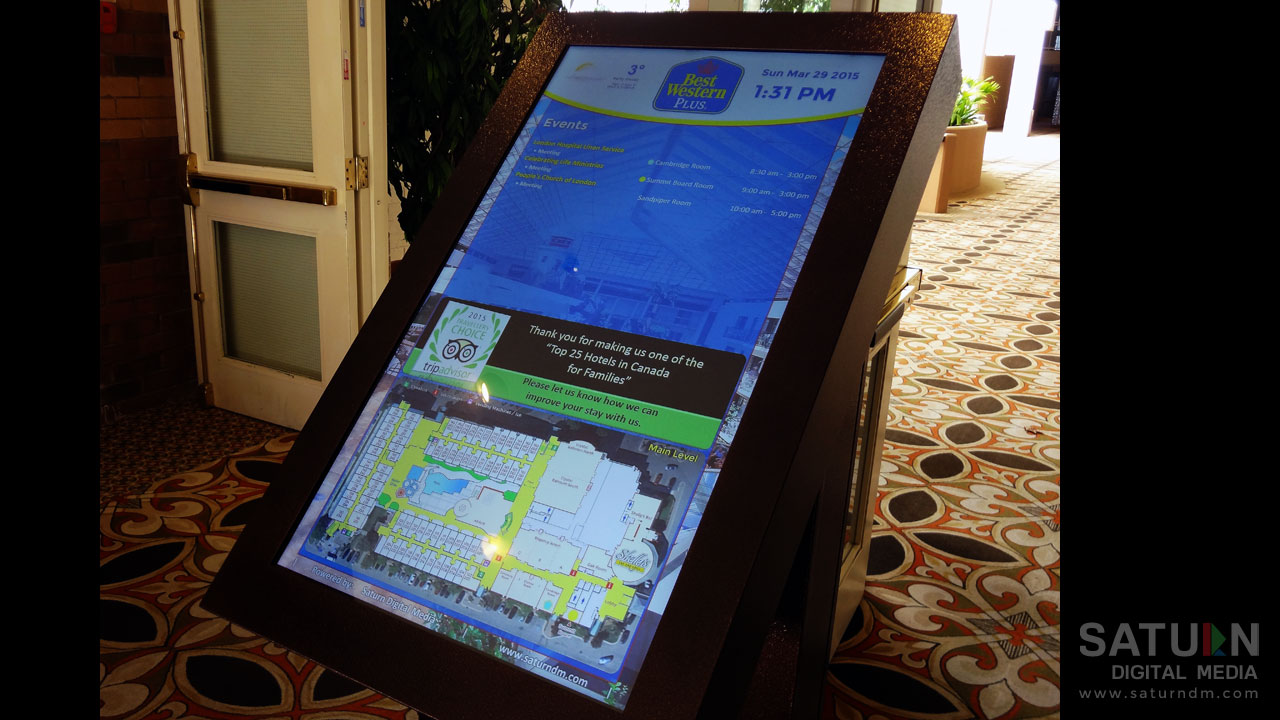 Smart Digital Wayfinding System at the Best Western Lamplighter Inn & Conference Centre in London, Ontario by Saturn Digital Media