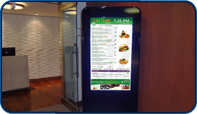 Stand up Digital Menu installed at entrance of Carlton Restaurant Menu in Toronto, Ontario by Saturn Digital Media