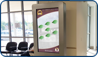 Custom Interactive Kiosk at Delhi Community Health Centre designed and installed by Saturn Digital Media